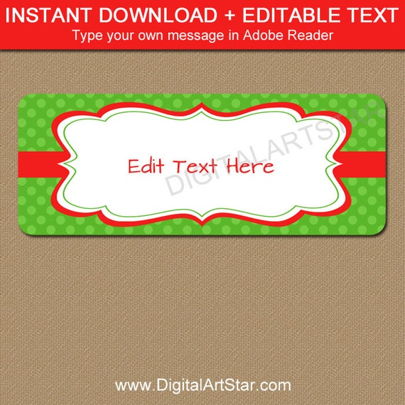 Printable Address Labels Editable Holiday Address Label