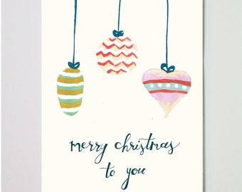 Hand-painted Ornament Christmas Greeting Card