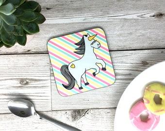 Nigel The Unicorn Coaster - Funny Pink Unicorn Gift - Drinks Mat