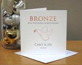 Personalised 8th Anniversary Card - Bronze Anniversary Card - Eighth Anniversary Card - Dove - For Husband/Wife - For Couple - For Him/Her