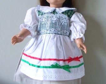Handmade Doll Clothes Green Plaid Christmas Dress Fits 18 inch dolls, Handmade Doll Dress