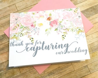 thank you for capturing our wedding - photographer videographer tip card - wedding thank you card - GARDEN ROMANCE