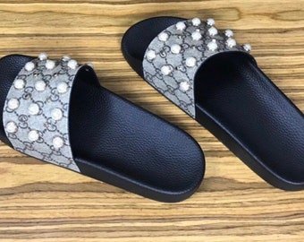 Pearl upcycled gucci slides