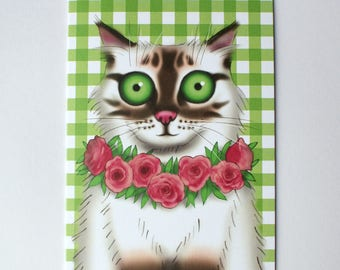 Birman cat card, Ragdoll card, Cat greeting card, Cat portrait, Cat selfie, Roses, Gingham