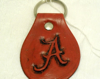 Handmade Leather Lether Deep Red Alabama A Key chain