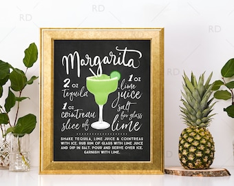 Margarita Chalkboard Cocktail with Recipe - PRINTABLE Wall Art / Cocktails Mixed Drinks Wall Art / Hand Drawn Cocktails / Cocktails Prints