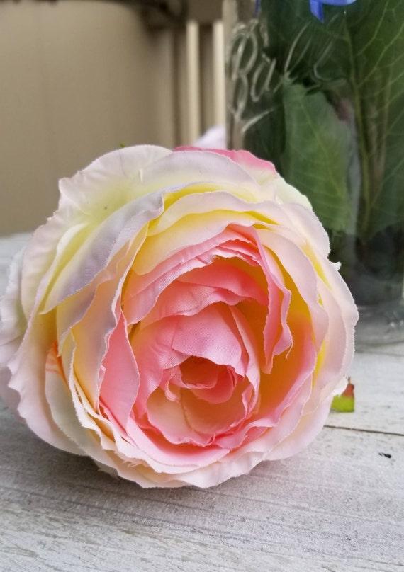 Pink Rose Flower Pen Bouquet Large Wide Mouth Ball Jar