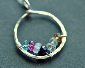 Grandmothers necklace / Mothers birthstone necklace CIRCLE OF LOVE, sterling silver, natural gemstones 7 stones - customized - personalized