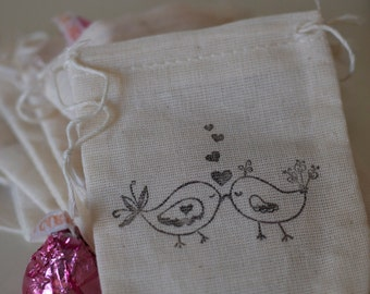 Love Bird Favor Bags 10 Muslin Favor Bags (Custom Orders Welcomed)