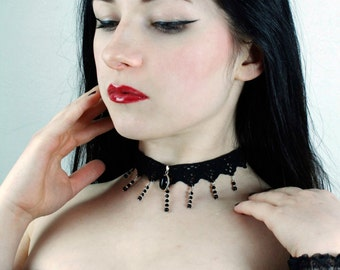 Gothic choker necklace, Black Onyx lace choker - ANGELIQUE - FEATURED in Gothic Beauty magazine