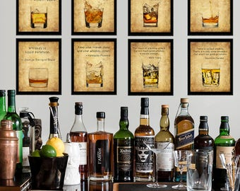 Discounted Set of Eight (8) Whiskey Prints with Quotes - Whiskey Poster - Bourbon Print Scotch Sale Bar Art  #vi901