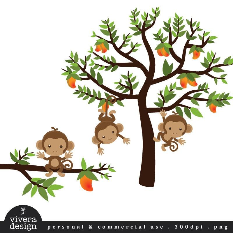 Monkeys on a Mango Tree Digital Clip Art