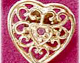 Open Work Heart Tack, Lapel Pin