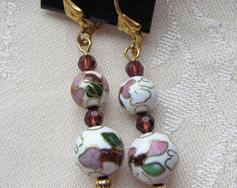 Gold Plated Dangle Earrings of Graduated 8 and 10mm Cloisonne Metal and Crystal Beads