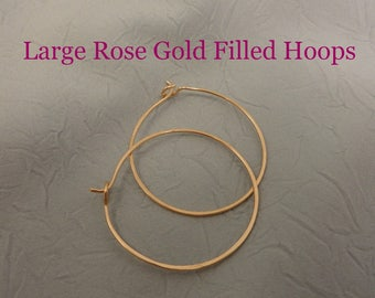 Large Rose Gold Filled Hammered Earring Hoops