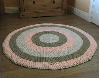 Handmade rug, 100 % cotton rug, cotton rug, tri color rug, multi color, crochet rug, home decor, Made in Ireland