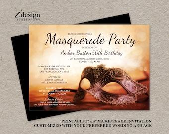 Masquerade Invitation | Printable Mardi Gras Themed 50th Birthday Party Invitations | Elegant Quinceanera Masquerade Ball Invites