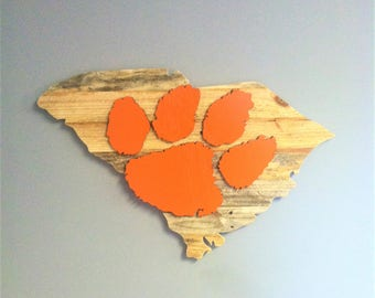 Hand Made South Carolina State cut-out with Clemson Tigers logo Pallet Wood Sign Wall Art