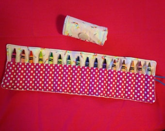 Crayon Roll Up Holder Case Unicorns Handmade Holds 16 Crayons