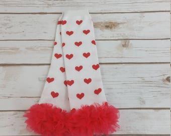 Girls Valentine Leg Warmers, Baby Valentines Day Leg Warmers, Red Heart Leg Warmers w Red Ruffle, Valentine Leggins, Valentines Day Baby