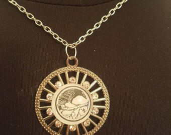 Dainty crow raven glass cameo necklace