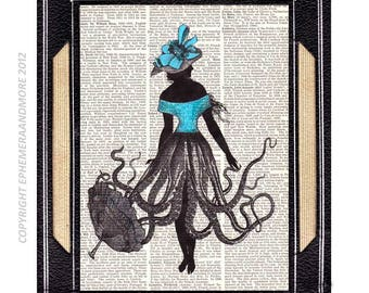 OCTOPUS WOMAN art print wall decor Victorian Fashion marine nautical ocean sea fantasy girl on upcycled vintage dicrionary book page 8x10