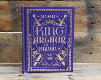 Book Safe - King Arthur and His Knights - Purple Leather Bound Hollow Book Safe