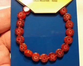 BF-252, A Dainty Strand of Dark Red / Burnt Orange Millefiori Beads