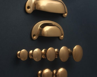 Solid Bronze Cabinet Handles & Knobs   Bronze Rose Gold Copper Style   Kitchen Cupboard Drawer Shaker Minimal Cup Pulls   QUALITY MADE