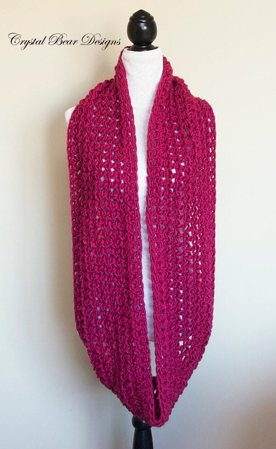 Infinity Scarf Crochet Pattern Chunky Cowl Circle Scarf Neck