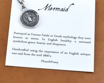 Mermaid - Wax Seal Necklace - Beauty, Grace and Eloquence - 194