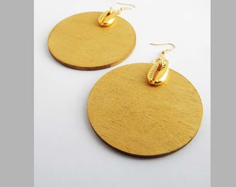 Cowry Shell Gold Earrings Wooden Round African Afrocentric Ethnic Cowrie Shell Wood Dangle