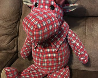 Memory Moose or Bear Keepsake made from dad's or grandpa's flannel shirt