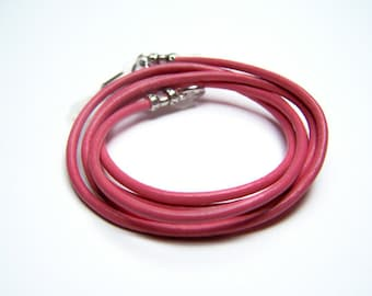 Pink Leather Cord For Glasses, Eyeglass Chain, Custom Made, 24-36 inch Length, Eyeglasses Necklace By Eyewearglamour