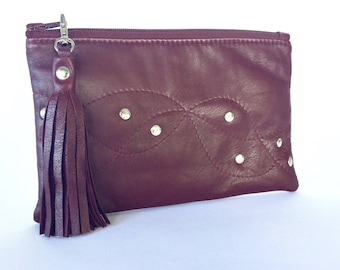 Monroe Leather Pouch:  Maroon / Burgundy