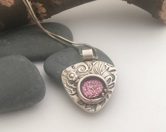 Pink Dichroic Glass Necklace - Glass Necklace - Silver Necklace - Dichroic Necklace