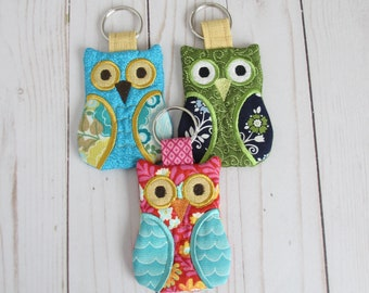Owl Keychain, Embroidered Owl Card Holder, Business Card Holder, Owl Gifts