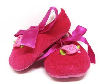 Ballerinas fuchsia velvet baby - ballet shoes baby 0/6 month