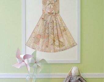 "LARGE Rome Hand Folded Map Dress - 24"" x 36"" - Light Pink, Beige - Nursery Wall Decor Art"