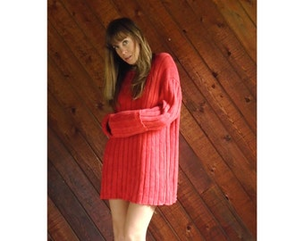 Red Oversized Ribbed RALPH LAUREN Sweater - Vintage 80s - XL