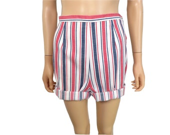 Vintage 60s Red White And Blue High Waist Cotton Vertical Striped Shorts Size 26 Waist