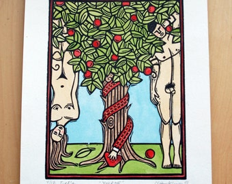 You and Me Linocut Print - Adam and Eve - Garden of Eden - Original hand painted block print - Limited edition