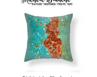 Green Rust Photo Pillow, Peeling Paint Photo toss Pillow,  Industrial Rust Modern Art Decor, Edgy Photo Pillow, Green Throw Pillow Cover