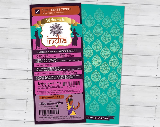 PASSPORT and TICKET birthday invitation, Bollywood- travel birthday party invitation-  birthday-ethnic, India, Hindu