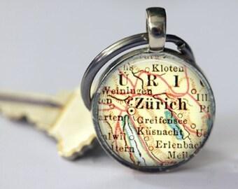 Zurich Switzerland Keychain, Godparent Gift, Grandpa Keychain, Groom Gift, Personalize Best Friend Gift, friend Gift, travel keychain