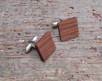 Wood Cufflinks, Square rosewood cufflinks, Wedding Cufflinks, boyfriend gift, wooden cufflinks for men, groomsmen set, customized