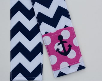 Anchor Camera Strap Cover- lens cap pocket and padding included- Monogrammed Navy Chevron/ Anchor