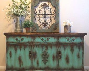 Attrayant Farmhouse Rustic Buffet Painted Furniture Media Console Patina Turquoise  Aqua