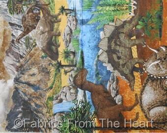 "Stonehenge Dinosaurs Prehistoric Dinos Jungle  23x44"" Panel  Northcott Fabric"