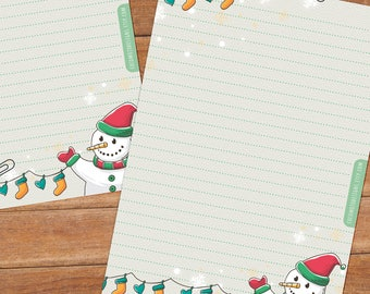 Christmas Snowman - DOWNLOAD file - Printable Writing paper - A5 size